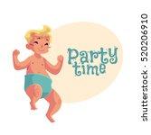 cute little baby boy dancing ... | Shutterstock .eps vector #520206910