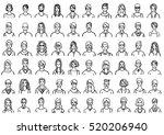 big set of hand drawn avatars... | Shutterstock .eps vector #520206940