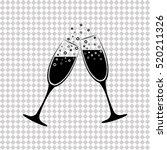 champagne glasses   black ... | Shutterstock .eps vector #520211326