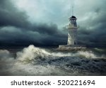 lighthouse on the sea under sky. | Shutterstock . vector #520221694