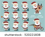 set of funny santa claus in... | Shutterstock .eps vector #520221838