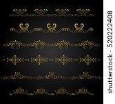 gold borders vector on black... | Shutterstock .eps vector #520222408