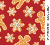 christmas gingerbread seamless... | Shutterstock .eps vector #520223824