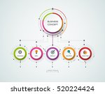 Vector infographic template with 3D paper label, integrated circles. Business concept with options. For content, diagram, flowchart, steps, parts, timeline infographics, workflow layout, chart | Shutterstock vector #520224424