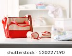 mothers bag and accessories on... | Shutterstock . vector #520227190