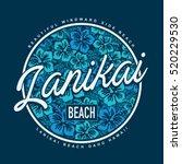 lanikai surf beach typography ... | Shutterstock .eps vector #520229530