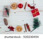 christmas gift boxes... | Shutterstock . vector #520230454