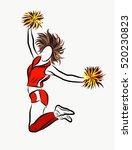 cheerleader girl isolated on... | Shutterstock .eps vector #520230823