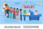 store with customers crowd and... | Shutterstock .eps vector #520234408