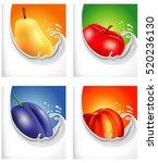 milk splash with pear  apple ... | Shutterstock .eps vector #520236130