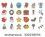 christmas colored icon set | Shutterstock .eps vector #520238554