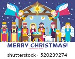 merry christmas icons flat set... | Shutterstock .eps vector #520239274