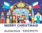 merry christmas icons flat set... | Shutterstock .eps vector #520239274
