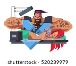 tattoo master at work | Shutterstock .eps vector #520239979