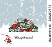 merry christmas postcard with... | Shutterstock .eps vector #520250578