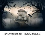 haunted house on the lake with... | Shutterstock . vector #520250668