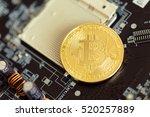 photo golden bitcoin | Shutterstock . vector #520257889