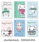 set of cute rabbit cards.... | Shutterstock .eps vector #520261354