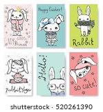 set of cute rabbit cards.... | Shutterstock .eps vector #520261390