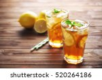Glasses Of Iced Tea With Lemon...