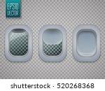 set of aircraft windows. plane... | Shutterstock .eps vector #520268368