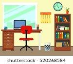 workplace room interior...   Shutterstock .eps vector #520268584