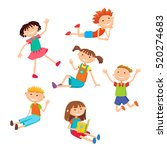collection of happy children in ... | Shutterstock .eps vector #520274683