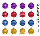 christmas balls. set of... | Shutterstock .eps vector #520274950