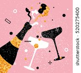 champagne flutes and bottle.... | Shutterstock .eps vector #520275400