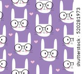 seamless cute bunny pattern... | Shutterstock .eps vector #520281973