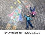 two funny little kid boys... | Shutterstock . vector #520282138