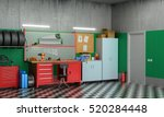 interior garage with car parts... | Shutterstock . vector #520284448