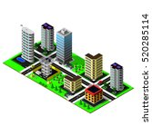 isometric city. map includes... | Shutterstock . vector #520285114