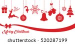 set of red christmas vector...