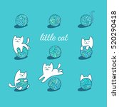 little white cat is playing... | Shutterstock .eps vector #520290418