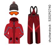 skiing clothes. winter skiing... | Shutterstock .eps vector #520292740