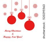 christmas red balls ornaments... | Shutterstock .eps vector #520295563