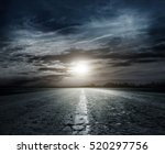 country road at night with... | Shutterstock . vector #520297756