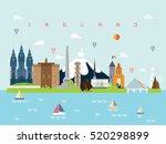 ireland famous landmarks... | Shutterstock .eps vector #520298899