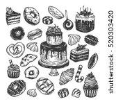 vector sweets. set of hand...   Shutterstock .eps vector #520303420
