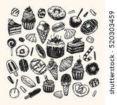 vector sweets. set of hand... | Shutterstock .eps vector #520303459