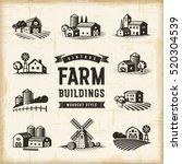 vintage farm buildings set | Shutterstock . vector #520304539