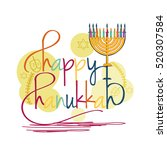 a beautiful happy hanukkah... | Shutterstock .eps vector #520307584