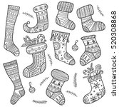 christmas boho socks  set on... | Shutterstock .eps vector #520308868