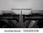Small photo of Spelling and grammar typed words on a Vintage Typewriter.