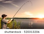 fishing rod lake fisherman men... | Shutterstock . vector #520313206