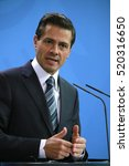 Small photo of APRIL 12, 2016 - BERLIN: Mexican President Enrique Pena Nieto at a press conference after a meeting with the German Chancellor, Chanclery.