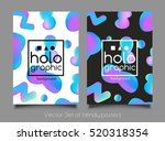 trendy two holographic neon... | Shutterstock .eps vector #520318354
