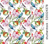 watercolor hand drawn seamless... | Shutterstock . vector #520324378
