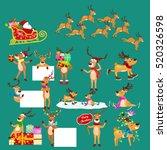 christmas set of deer with... | Shutterstock .eps vector #520326598